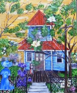 Blue House Brown Door