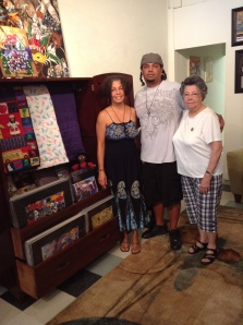 Joey & I with local artist, Mrs Ethel Thibeaux and her hand-stitched quilts