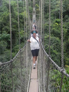 Got me walking on a tight rope. Joey on the Canopy Walkway