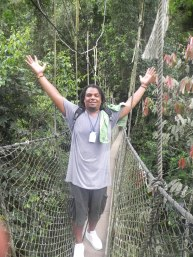 """""""Look, No hands!!"""" Bryant on the Canopy Walkway"""
