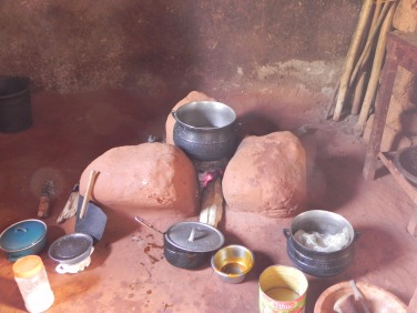 The kitchen stove. The fufu with ground nut soup is ready!!