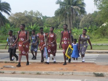 Students on their way to school. Love the uniforms!
