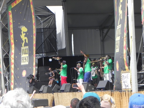Rebirth Brass Band on stage at Jazz Fest 2014