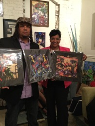 Michelle Thomas with her new prints