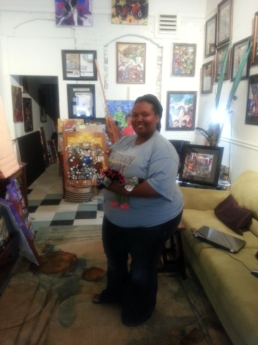 Tina Shelvin with the cedar print she picked up as a gift.