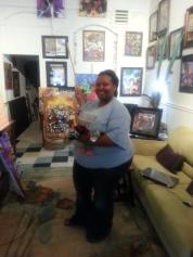 Tina Shelvin with her cedar print.