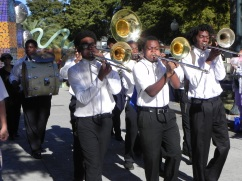 Here comes the second line. Edna Karr High School Brass Band